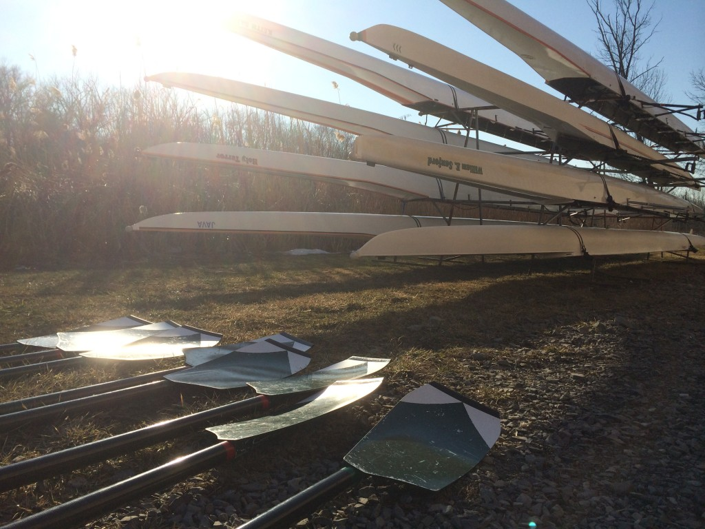 Oars down off the racks and ready for a row